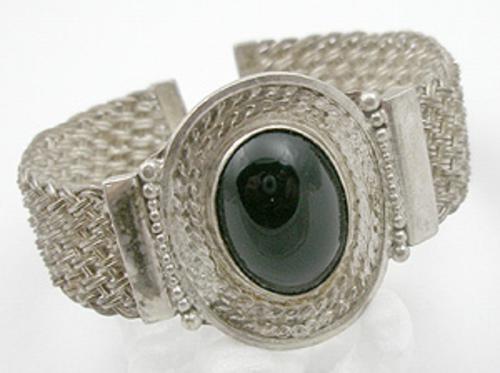 Newly Added Woven Sterling Black Glass Bracelet