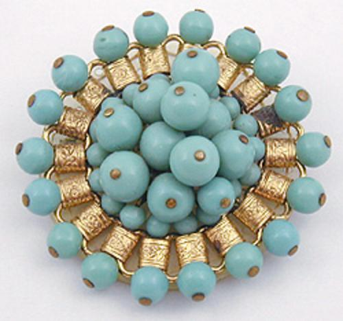 Newly Added Miriam Haskell Turquoise Bead Brooch