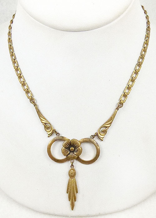 Art Deco - Art Deco Brass Bow Necklace