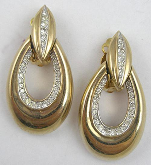 Misc. Signed M-R - Panetta Gold Rhinestone Hoop Earrings
