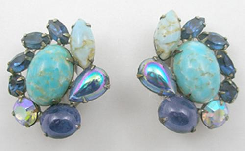 Newly Added Turquoise Glass and Sapphire Rhinestone Earrings