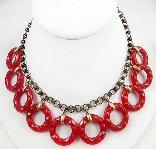 Newly Added Red Bakelite Rings Necklace