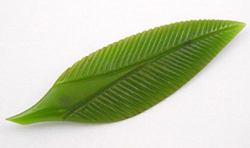 Brooches - Green Bakelite Leaf Brooch