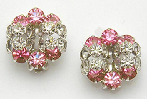 Newly Added Pink and Clear Rhinestone Earrings
