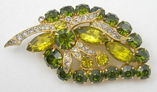 Newly Added Eisenberg Ice Olivine Rhinestone Brooch