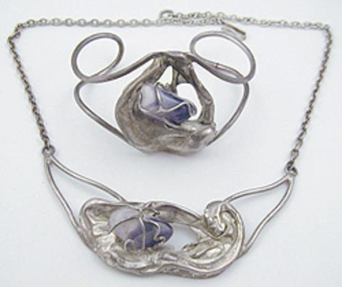 Sets & Parures - Post-modern Silver Amethyst Nugget Necklace & Bracelet Set
