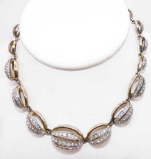 Sterling Silver - Nettie Rosenstein Stering Rhinestone Necklace