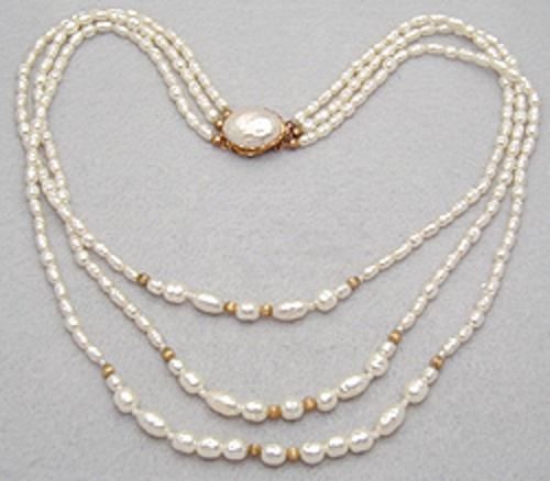 Bridal, Wedding, Special Occasion - Miriam Haskell Triple Strand Necklace