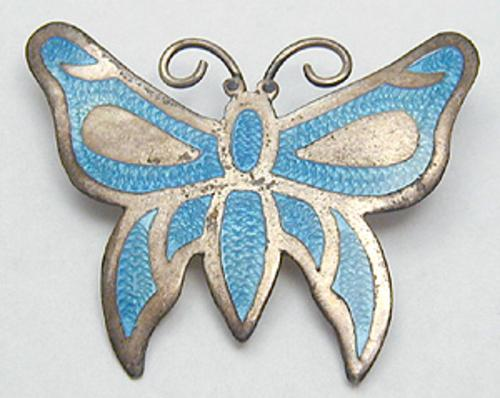 Brooches - Jeronimo Fuentes Enameled Sterling Butterfly Brooch