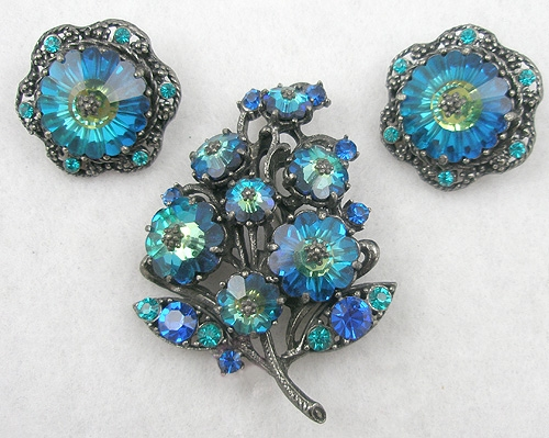 Weiss - Weiss Blue Margarita Brooch Set