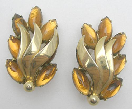 Newly Added Topaz Navette Rhinestone Flame Earrings