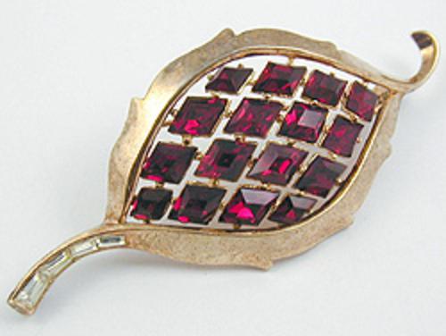 Newly Added Trifari Red Rhinestone Leaf Brooch