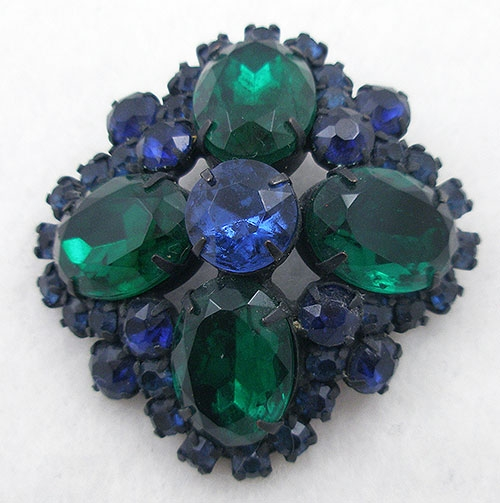Brooches - Blue & Green Rhinestone Domed Brooch