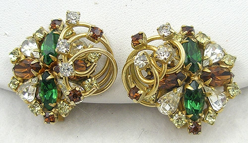 Hobé - Hobé Green & Topaz Rhinestone Earrings