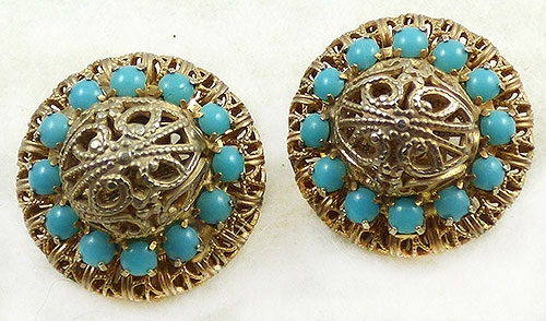 Newly Added Gold Filigree Bead Turquoise Glass Earrings