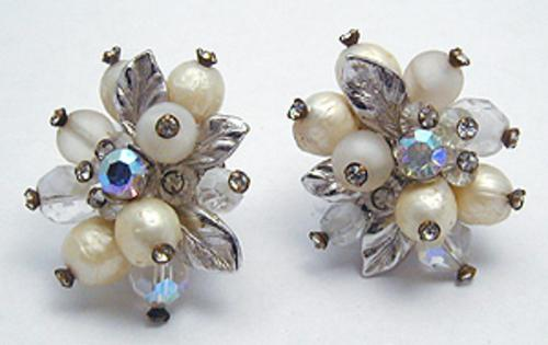 Newly Added Vendome Faux Pearl & Crystal Earrings