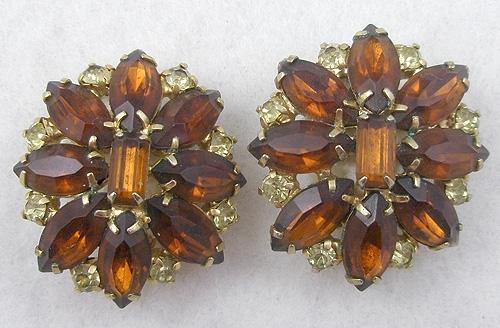 Earrings - Amber Rhinestone Earrings