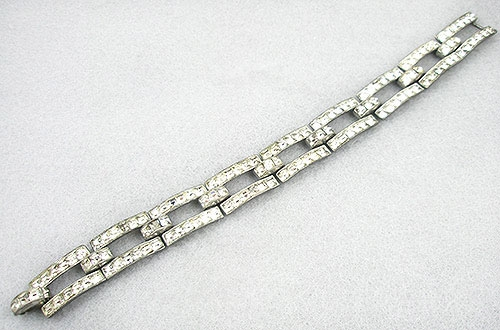 Bridal, Wedding, Special Occasion - Art Deco Square Rhinestone Bracelet