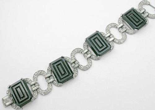 Newly Added Art Deco Black Glass & Rhinestone Bracelet