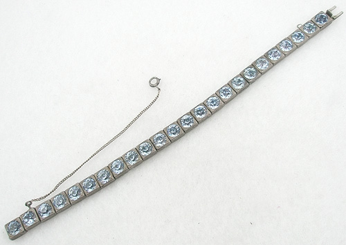 Bracelets - Art Deco Sterling Pale Blue Rhinestone Bracelet