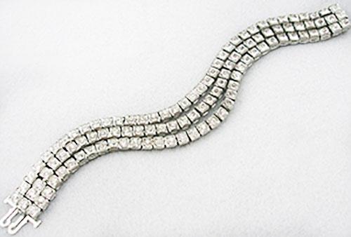 Newly Added Art Deco Triple Line Rhinestone Bracelet