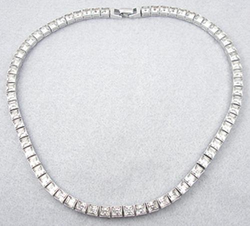 Art Deco - Art Deco Rhinestone Line Necklace