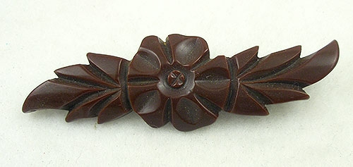Florals - Chocolate Bakelite Carved Flower Brooch