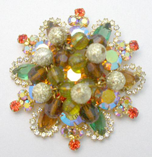 Newly Added DeLizza & Elster Autumn Dangling Beads Brooch