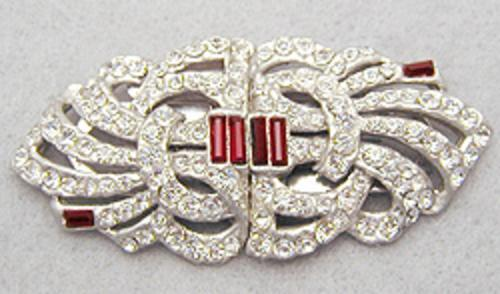 Newly Added Mazer Rhinestone Double Clips Brooch Duet