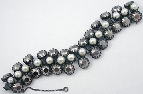 Newly Added Hematite Rhinestone & Faux Pearl Japanned Bracelet