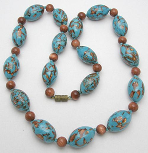 Italy - Turqoise and Goldstone Venetian Beads Necklace