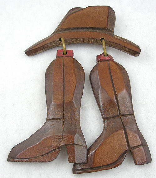 Figural Jewelry - Objects & Things - Wooden Boots and Hat Brooch