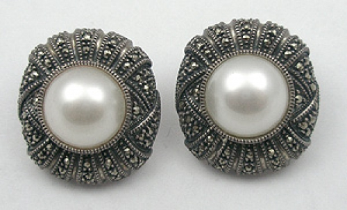 Earrings - Judith Jack Faux Pearl & Marcasite Earrings