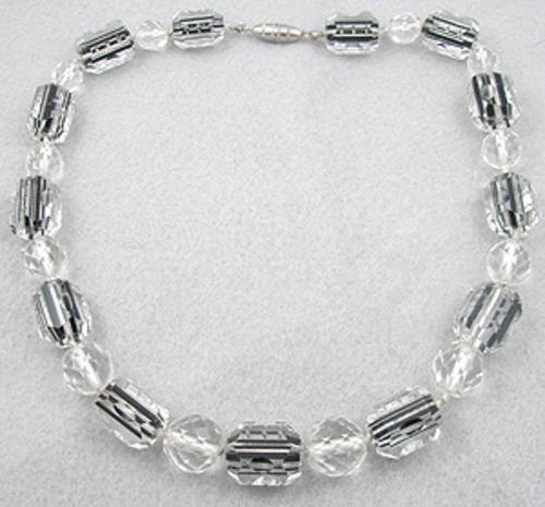 Crystal Bead Jewelry - Art Deco Cut Crystal Beads Necklace