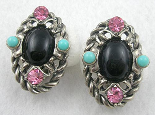 Selro/Selini - Selro/Selini Black Oval Stone Earrings