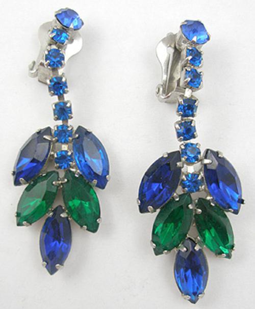 Earrings - Blue & Green Rhinestone Dangle Earrings