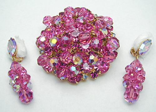 Sets & Parures - DeLizza & Elster Pink Rhinestone & Beads Brooch Set
