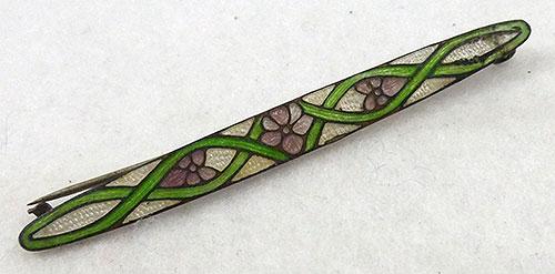 Brooches - Art Nouveau Enamel Bar Pin