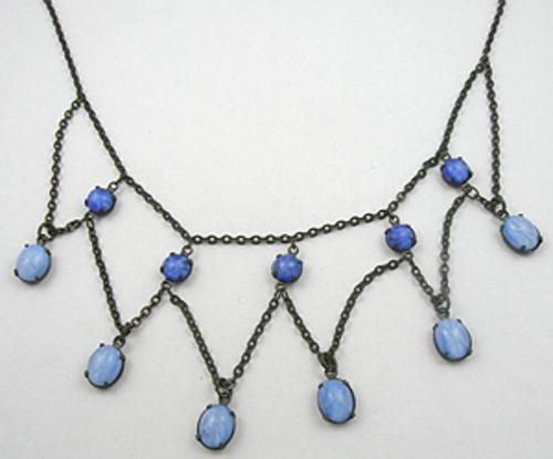 Rose Quartz and Serenity Blue Colored Jewelry - Vintage Star Sapphire Festoon Necklace