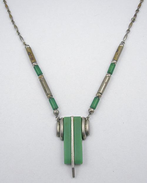 Necklaces - Machine Age Green Galalith Necklace
