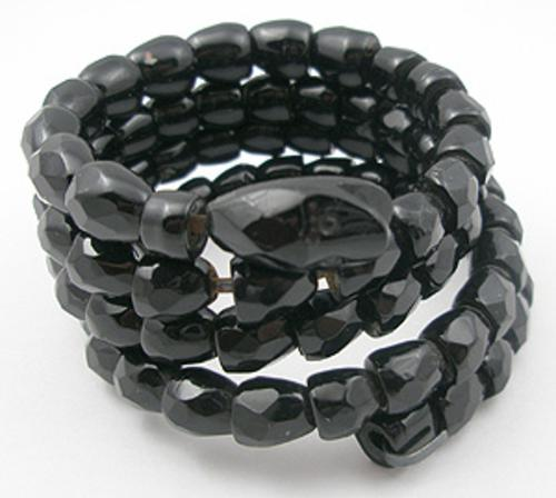 Figural Jewelry - Snakes Turtles Reptiles - Whitby Jet Segmented Snake Bracelet