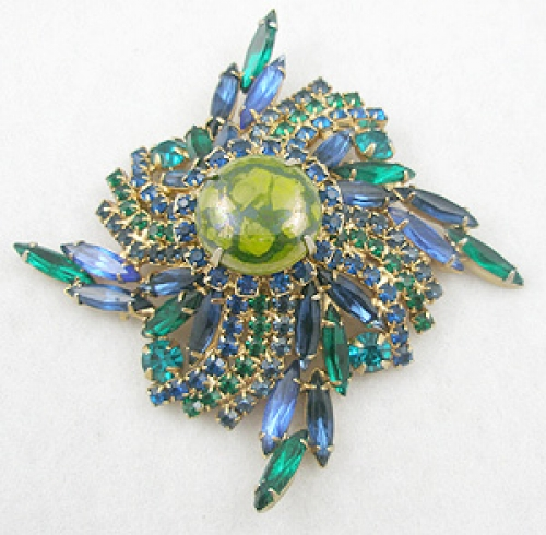 Brooches - Schrager Domed Rhinestone Brooch