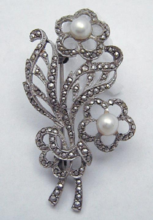 Marcasite Jewelry - Bucherer Marcasite Floral Brooch