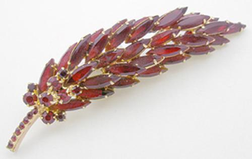 Newly Added DeLizza & Elster Red Navette Leaf Brooch