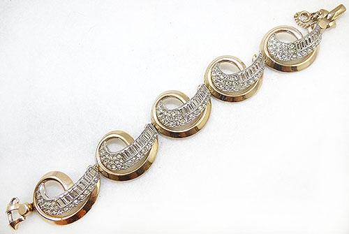 France - Schiaparelli Rhinestone Ribbon Bracelet