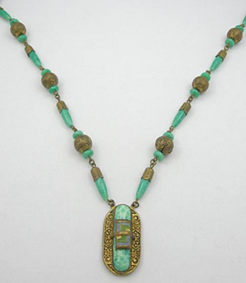 Czechoslovakia - Czech Jade Glass Necklace