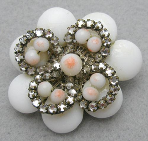 Brooches - Miriam Haskell White Glass Brooch