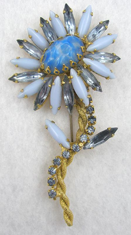 Newly Added Blue Art Glass Flower Brooch