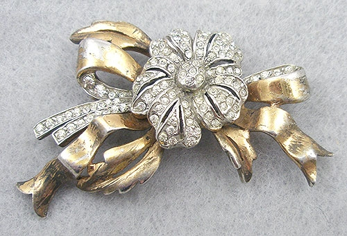 Brooches - 1940's Sterling Vermeil Rhinestone Flower Brooch
