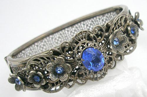 Newly Added Czech Silver Filigree Blue Rhinestone Hinged Bracelet